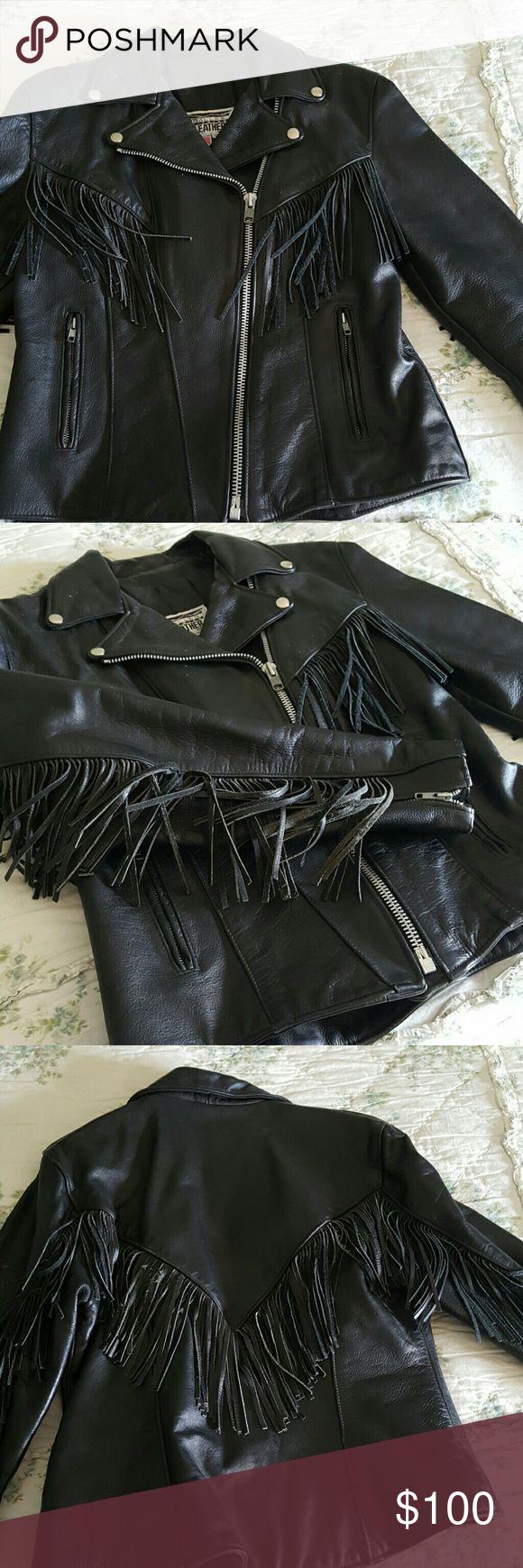 Ladies Leather Jacket Great condition leather fringed riding jacket. Dallas Premium Leather Jackets & Coats Utility Jackets