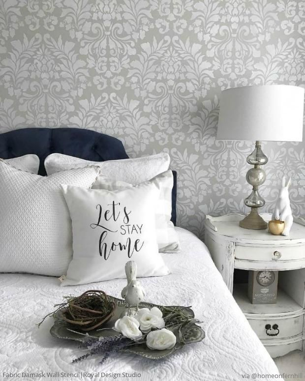 Delicieux Stencil Your Bedroom Walls With A Classic Damask Wallpaper Look   French  Country Farmhouse Style Bedroom