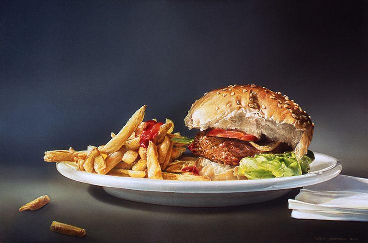 "Tjalf Sparnaay: ""Hamburger friet"" 50 x 75 cm"