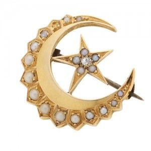 Buy Online Pearl And Diamond Crescent Brooches