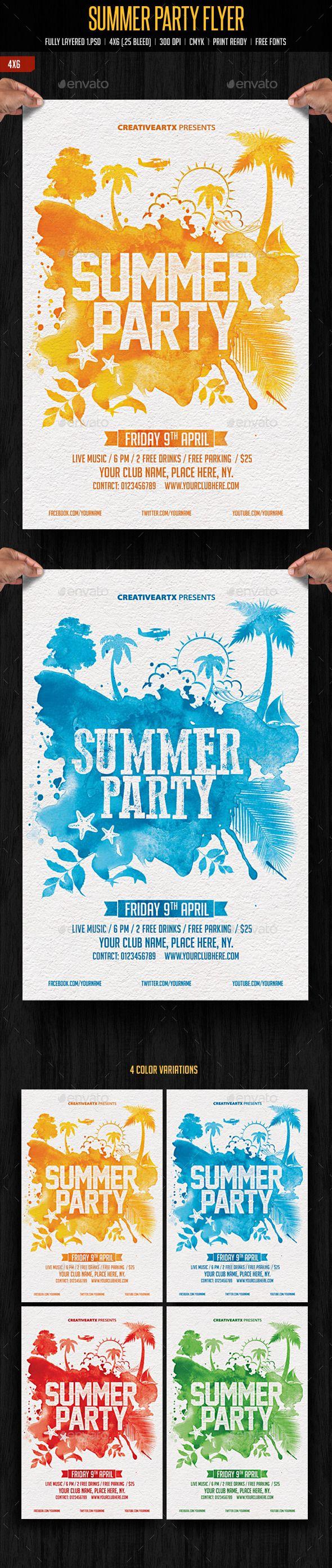 Summer Party Flyer Tempalte #design #summer Download: graphicriver.net/...
