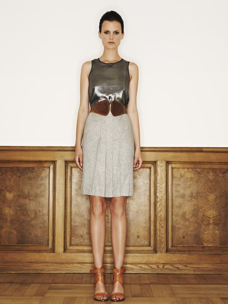 Rützou linen rayon skirt in cement grey