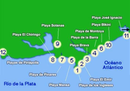 Map of Uruguay Beaches