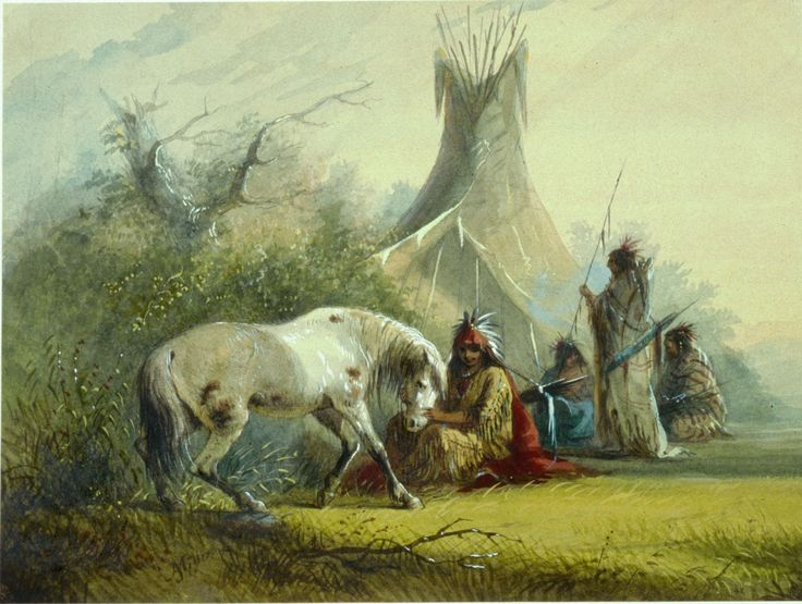 Shoshone Indian and his Pet Horse by Alfred Jacob Miller