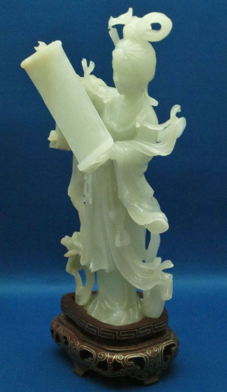 White Jade Guanyin w/ Scroll on Silver Wire Inlaid Stand. Chinese