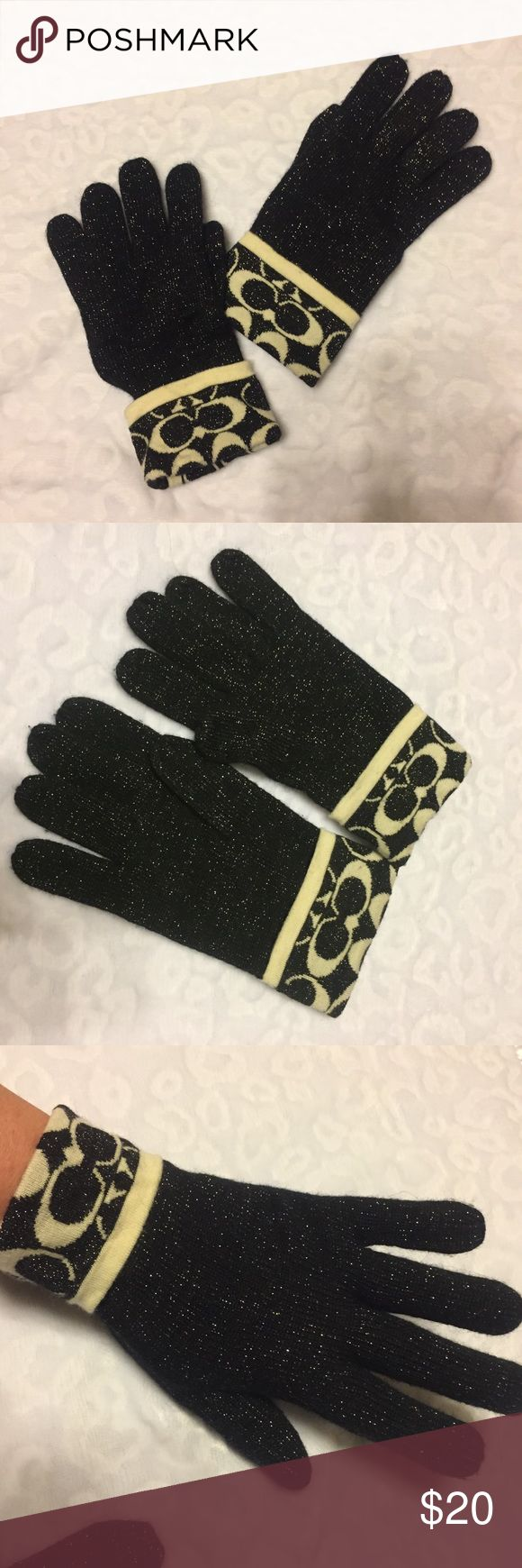 Coach Black & Cream Gloves Authentic Coach wool blend shimmer black gloves  with cream color signature logo on cuff. These are one size fits most. Beautiful gloves in good condition! Coach Accessories Gloves & Mittens