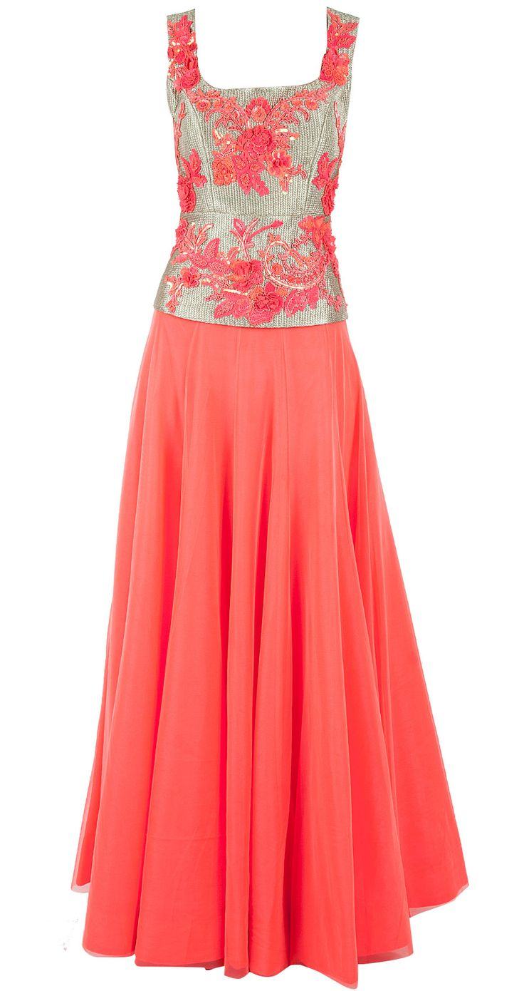 Neon pink lehenga with embroidered gold blouse by ATSU. Shop now at perniaspopupshop.com
