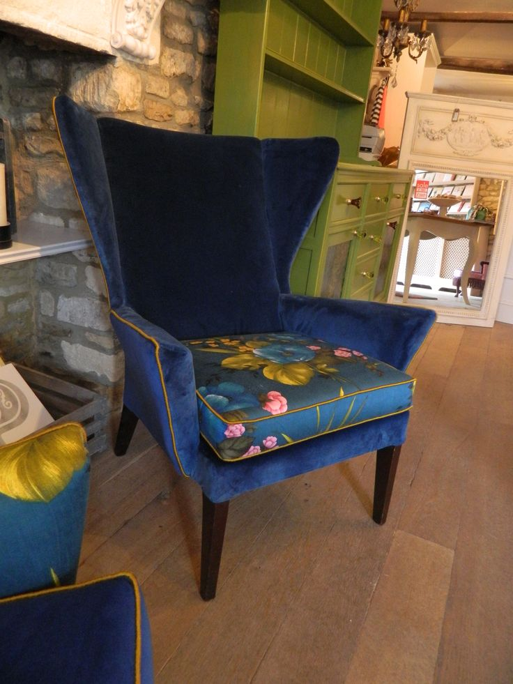 'Warren', designed by Velvet Eccentric, a Parker knoll retro wingback chair, reupholstered in stunning iris velvet, just a hit of complementary vintage floral on the seat base & then finished with gold satin piping