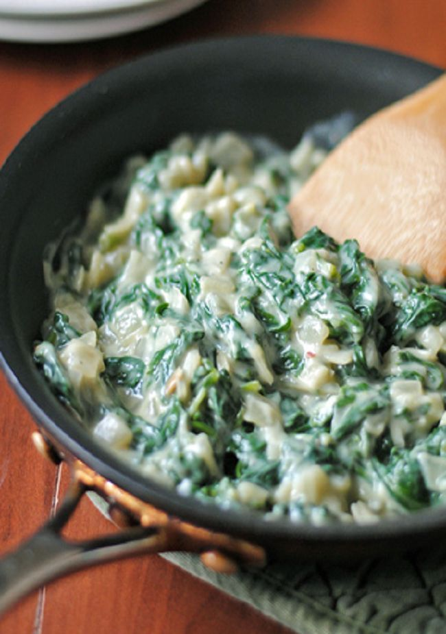 Cauliflower is the secret to this creamless creamed spinach, which keeps all of its texture and chew. So much more flavor than using cream or milk, and you'll never have to eat mushy spinach again.