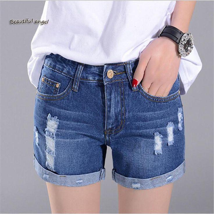 2017 Nuevas Mujer Pantalones Cortos de Mezclilla Verano Corto Feminino Plus Tamaño de Cintura Alta de Mezclilla Ocasional Pantalones Vaqueros Del Agujero Pantalones Cortos de Mezclilla