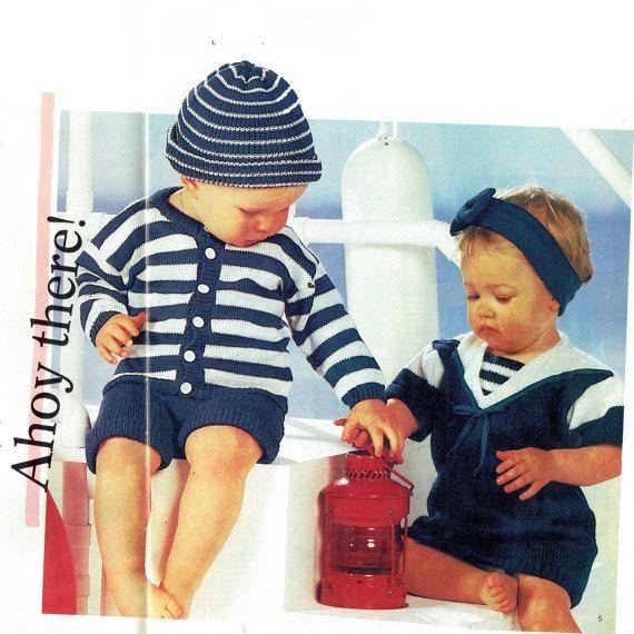 PDF Vintage Baby Cute Sailor Costumes Knitting Pattern,  Romper Suit, Play-Suit, Headband etc.....Nautical Theme! Lookx