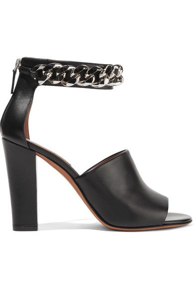 Givenchy - Raquel Chain-embellished Sandals In Black Leather - IT40.5