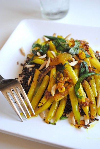 Indian-Spiced Yellow Wax Beans with Black Quinoa - i just made the spiced beans and ate them by themselves without the quinoa.  they had a great flavor, but mine had a slightly grainy texture from the spices.  probably my own fault and not the fault of the recipe.