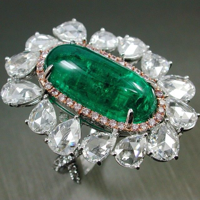 Natural Emerald Drop & Rose Cut Diamonds Ring #Colombia #Green Color…