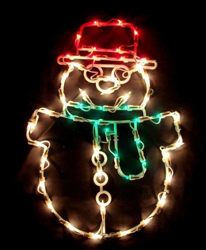 "17"" Lighted Snowman Christmas Window Silhouette Decoration by VCO. $22.99. 17"" Lighted Snowman Christmas DecorationItem #V490527Features:Illuminated by 50 red, green and clear mini lightsOne-sidedNo assembly required. Decoration is 1-pieceUL listed for indoor or outdoor use120 volts, 60Hz, .17 amps, 20.4 wattsWire gauge: 2224"" white lead cord that has 1 plug with end connector allowing you to stack multiple sets of lighted decorations together (not to exceed ..."
