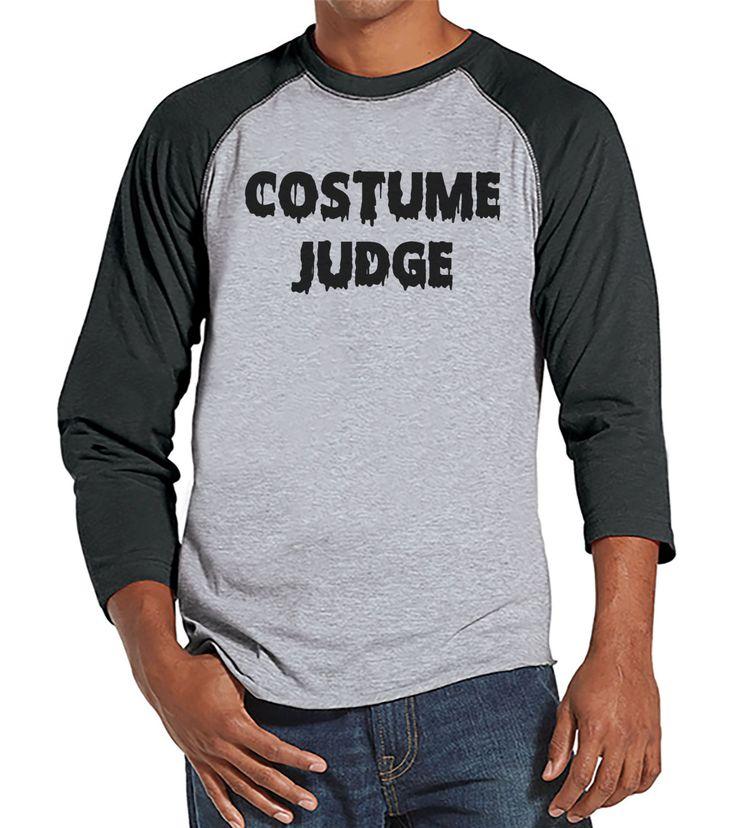 Costume Judge - Halloween Party - Adult Halloween Costumes - Funny Mens Shirt - Mens Costume Tshirt - Mens Grey Raglan Tee - Happy Halloween