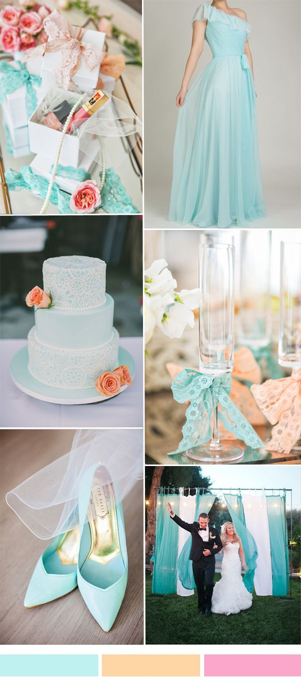 světle tyrkysová, merňková a světle růžová mint blue and peach wedding color palette and tulle bridesmaid dress