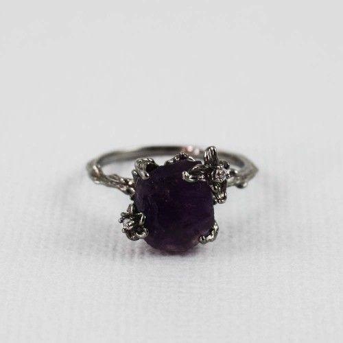 Black Rough Amethyst Ring