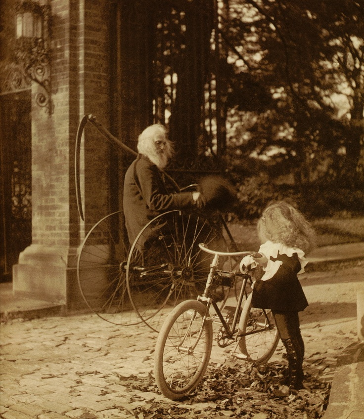 1860. To me, this is a very powerful photo. Age remembering youth, and youth looking curiously at age.