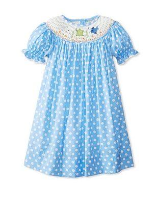 58% OFF Viva La Fete Kid's Polka Dot Print Bishop Dress (Blue)