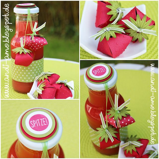 andi-amo: Erdbeeren aus Papier und leckerer Erdbeersirup auf www.andi-amo.blogspot.de #Erdbeersirup #Stampin Up #Erdbeeren #So dankbar #Stanze dreierlei Blüten
