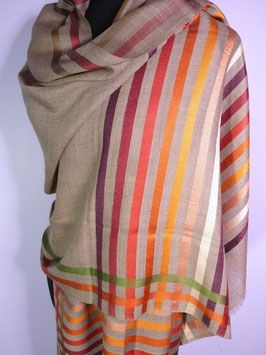 Delhi Stripe ~ Earthy Red Stripes and Taupe Shawl 90% Wool/10% Silk