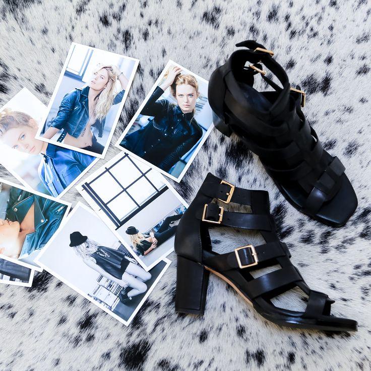 Bared Footwear Pelican black strappy heel, Flat lays