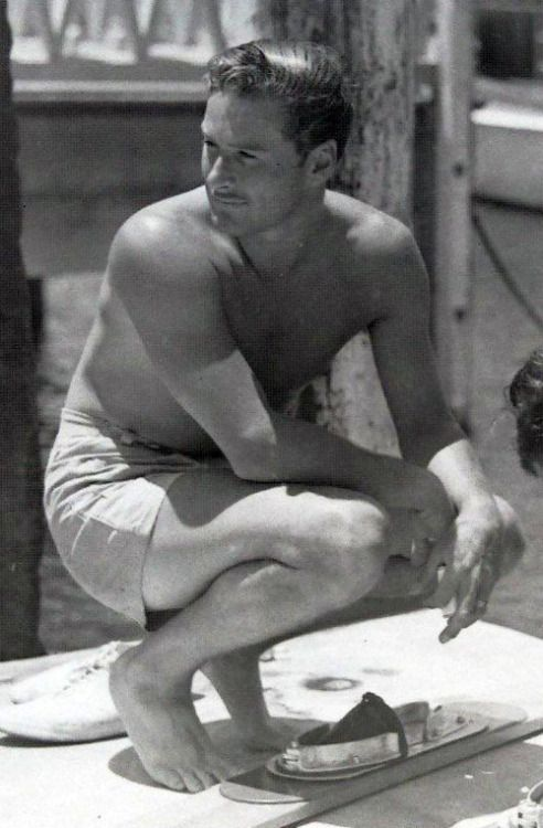 Errol Flynn loved swimming and watersport in general, it suited him very well.