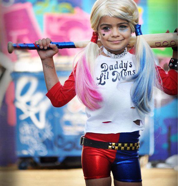 Harley Quinn inspired Shorts. Girls Red/Blue Metallic by KrabKakes