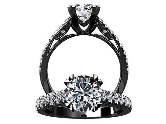 victorian inspired 14k black gold engagement ring wedding ring with 125ct vvs white sapphire - Wedding Rings Black