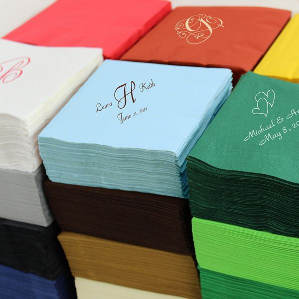 Design your own 5 x 5 personalized paper cocktail wedding napkins custom printed with your choice of design and up to 3 lines of text. 28 Napkin colors