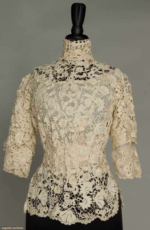 Irish Crochet Lace Top  1915  Augusta Auctions~ I really like this top and only wish it was mine~