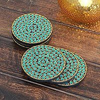 Indian hand-crafted bejeweled coasters, 'Aqua Glitz' (set of 6).