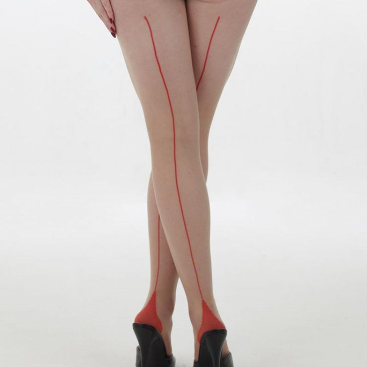 What Katie Did - Retro Contrast Seamed Tights Nude with Red– M/L * Striking contrast seamed tights inspired by 1950s seamed stockings * Contains elastane for a perfect fit combining comfort of today with glamour of yesteryear * Sheer 15 denier with a contrasting heel and seam to the top of the leg * Made in Italy, famous for it\'s hosiery manufacturing  Fits Medium to Large 5ft 5 #WhatKatieDid