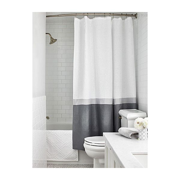 Samantha Pynn x Simons Samantha's stripe shower curtain (85 CAD) ❤ liked on Polyvore featuring home, bed & bath, bath, shower curtains, linen shower curtains, white shower curtains, striped shower curtains and stripe shower curtains