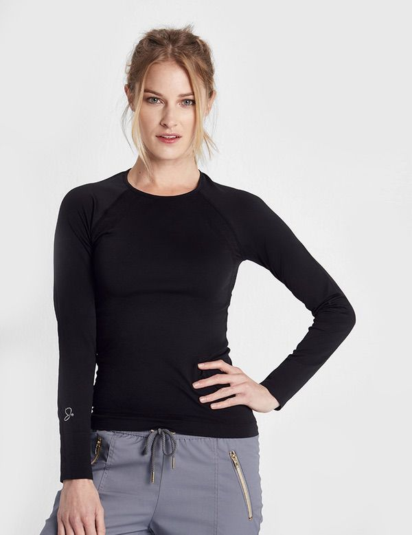 The Underscrub in Black is a contemporary addition to women's medical scrub outfits. Shop Jaanuu for scrubs, lab coats and other medical apparel.