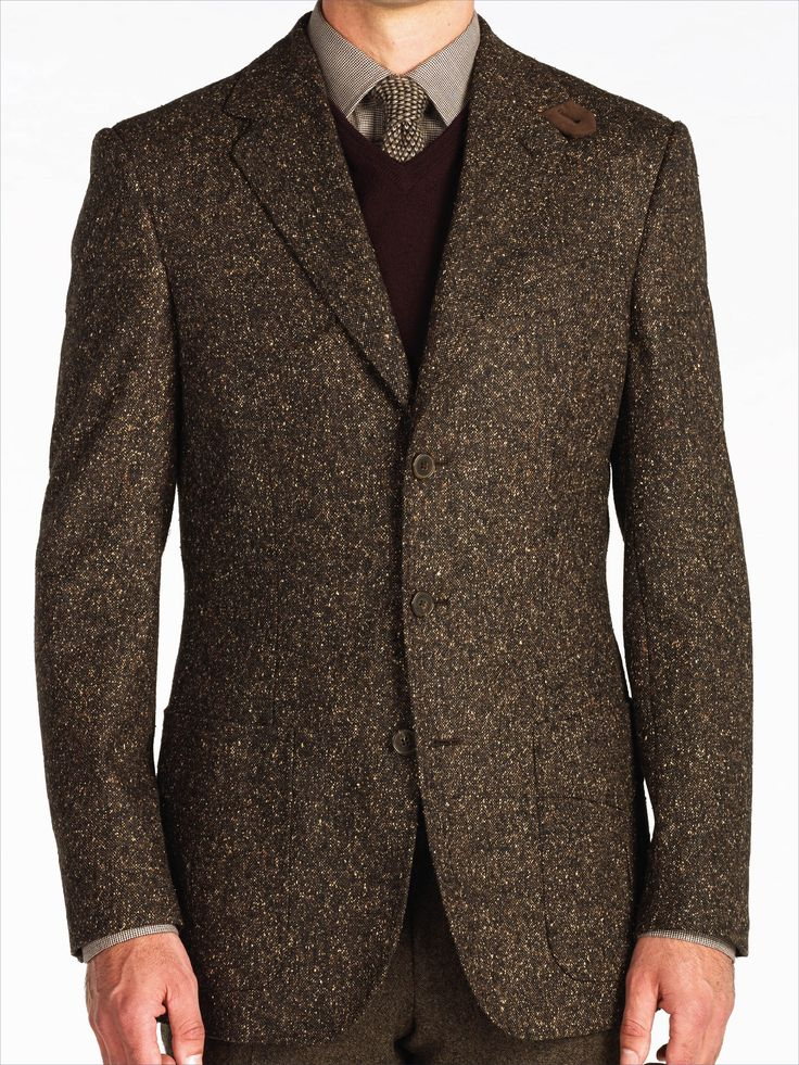 Chocolate Wool and Silk Handmade Donegal Shooting Jacket