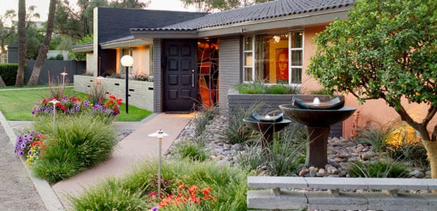 Mid-century home entrance makeover