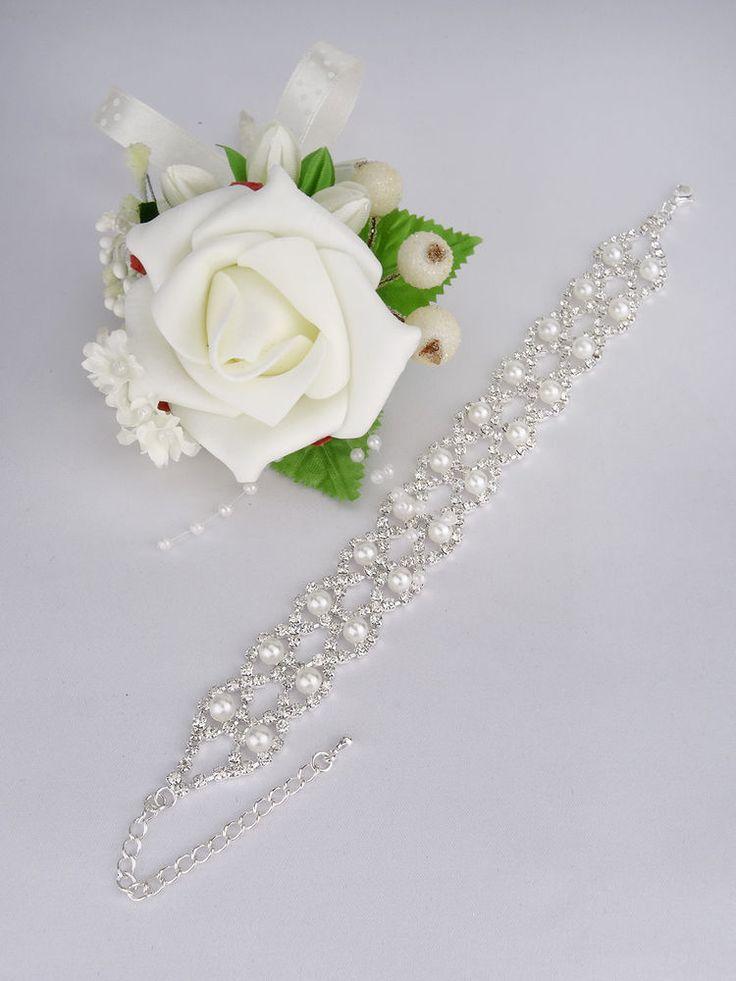 Brautschmuck armband silber  Armband Strass Perlen Silber Brautschmuck Hochzeit in Uhren ...