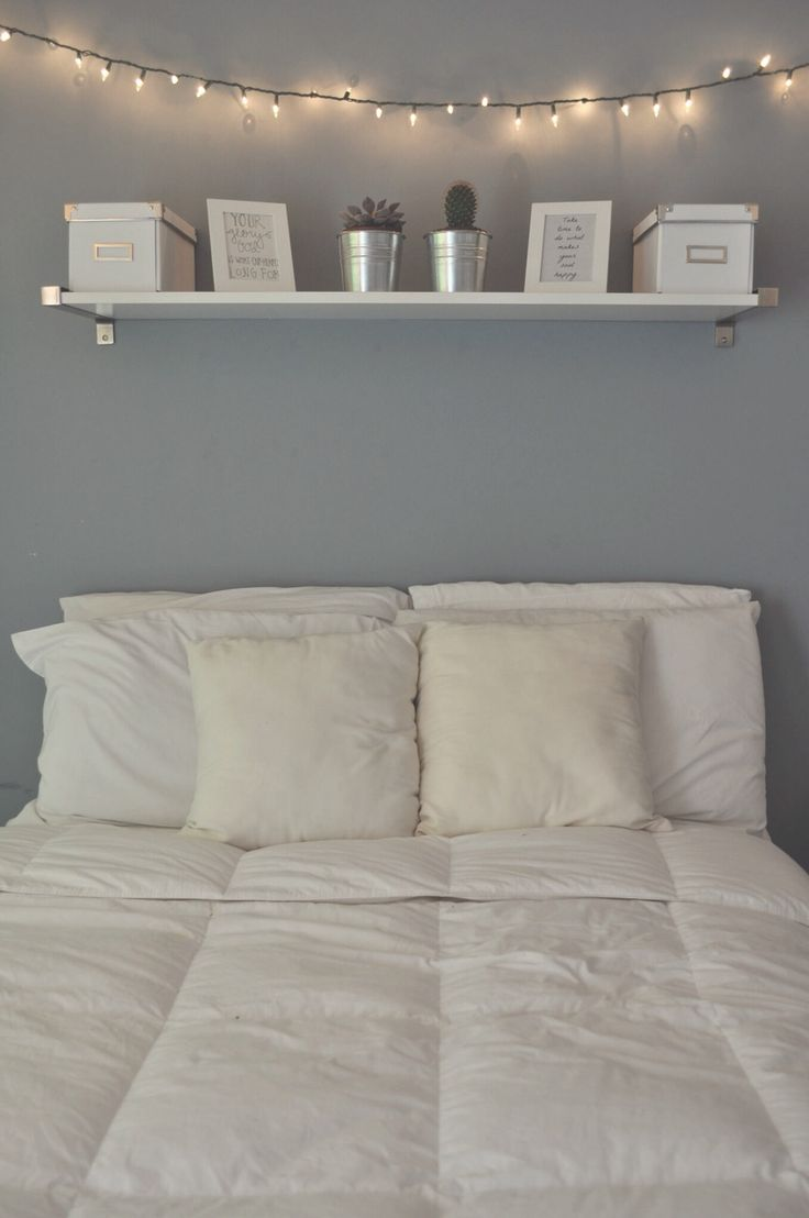 Calming... Light blue wall? Shelf above the bed seems so practical but is a little scary for me.