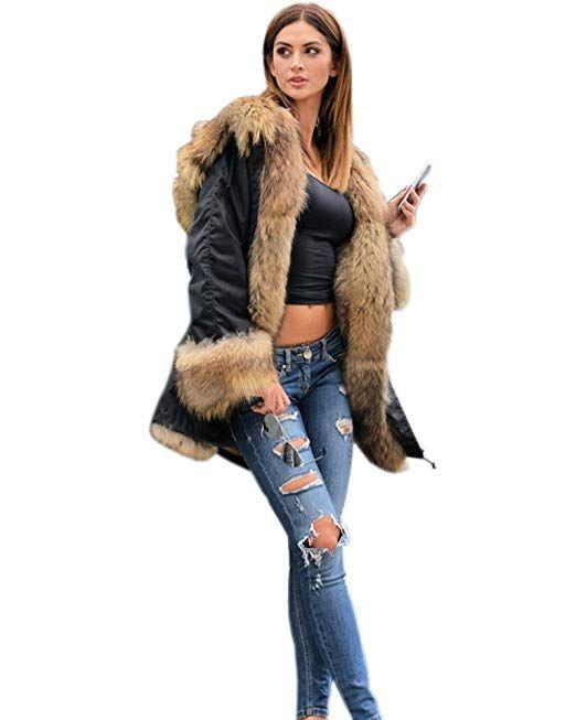 f6955d58ea39 Roiii® Frauen Winter Verdicken Parka Kapuzen Ski Outdoor Kunstpelz Jacke  Mantel Plus Größe 36-50  - Winter Outfits Frauen Sch…   Winter Outfits  Frauen ...