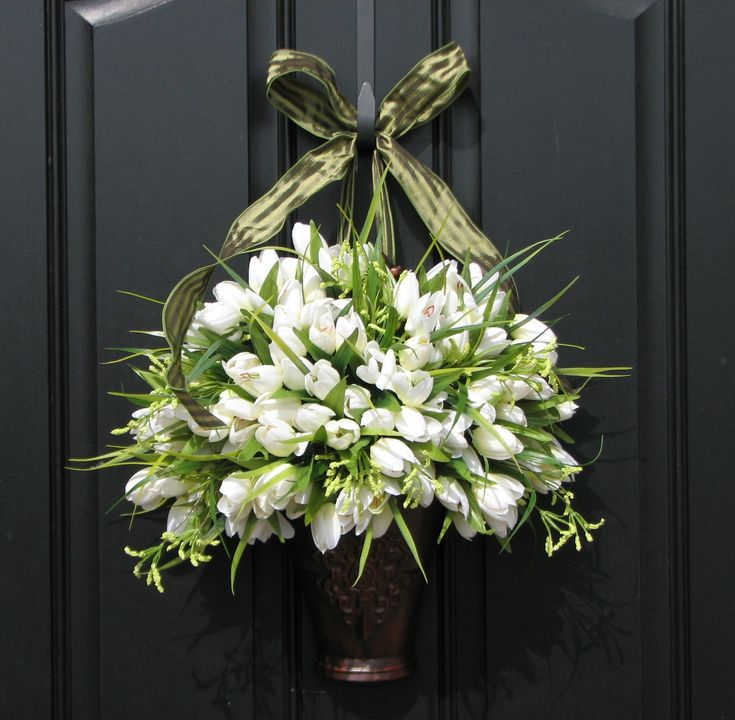 front door decorations for spring | Spring Tulips Farmhouse Tulips Front Door Decor by twoinspireyou