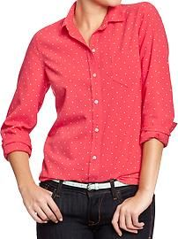 Love these Women's Oxford Shirts - I have them in just about every color!  Easy to dress up or dress down with accessory pieces.