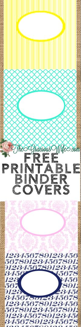 Free Printable binder or folder covers. From TheGraciousWife.com #organization #printables