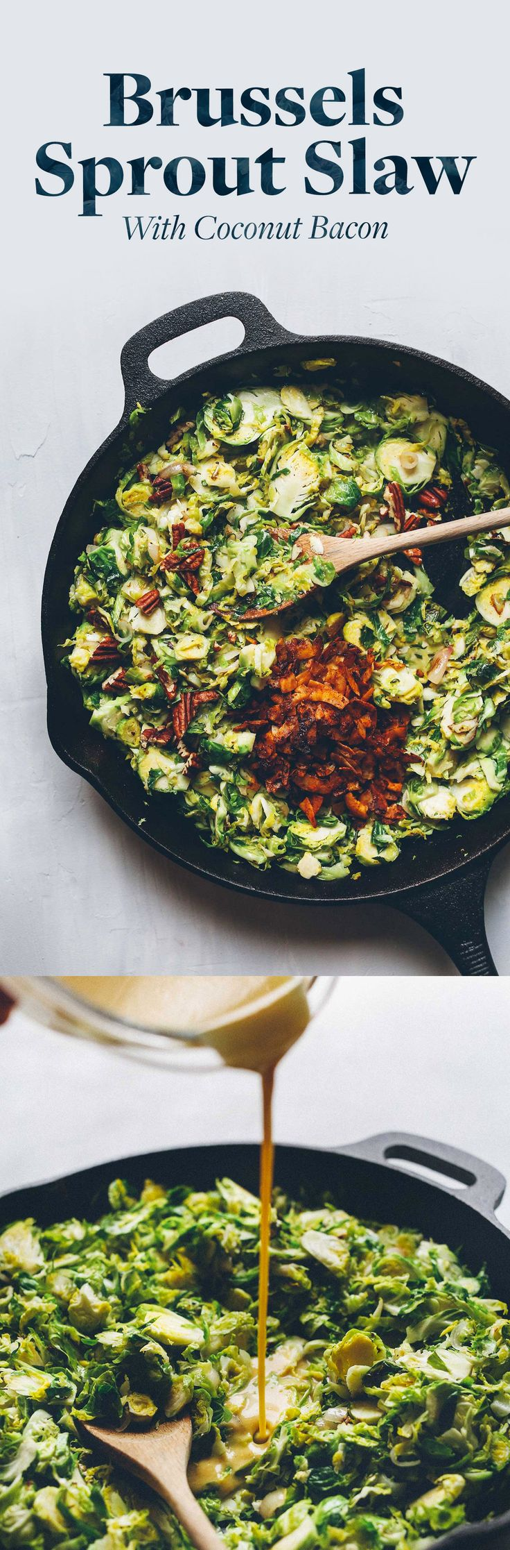 A warm side dish perfect for fall or winter. Brussels sprouts, pecans and coconut bacon are tossed in a tangy mustard dressing! 30 minutes and 100% plant-based.
