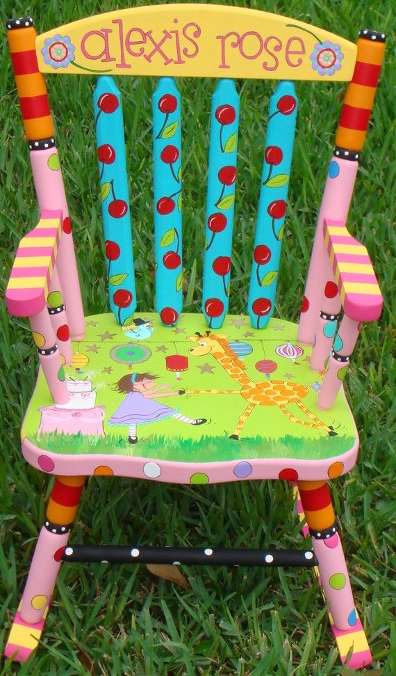 Custom Painted Rocking Chair For Children Hand Painted Rocker Boys Or Girls  Nursery Decor