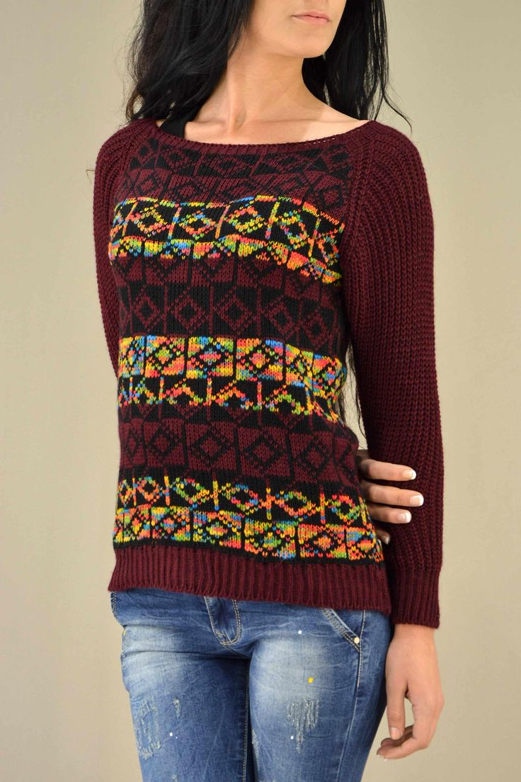 Γυναικείο πουλόβερ ζακάρ  PLEK-2730-bu  Γυναίκα Πλεκτά και ζακέτες