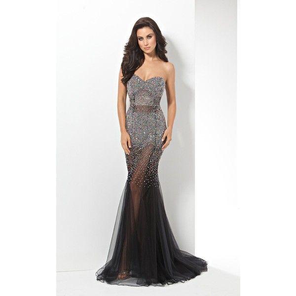 Eleni Elias P502 Prom Dress 2016 Long Strapless Sleeveless ($869) ❤ liked on Polyvore featuring dresses, black, formal dresses, black mermaid gown, mermaid formal gowns, prom dresses and black prom dresses