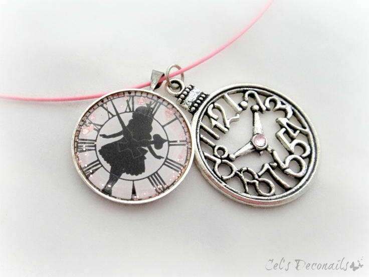Alice in Wonderland pink clock necklace--maybe we could do something with time . . . how we spend it . . . time on earth . . . . time at camp