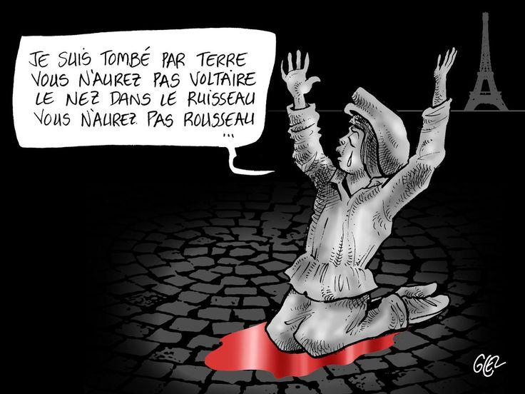 """""""Quand la nature fait entendre d'un côté sa voix douce et bienfaisante, le fanatisme, cet ennemi de la nature, pousse des hurlements ; et, lorsque la paix se présente aux hommes, l'intolérance forge ses armes."""" - Traité sur la Tolérance, 1763 - [ Voltaire ] -  Dessin de Glez - Burkina Faso"""